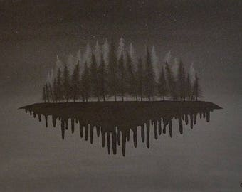 Nature Abstract Painting Trees Island Night Sky Dripping Paint Black Grey Fantasy Artwork Stars Forest Unique Canvas Home Decor Wall Art