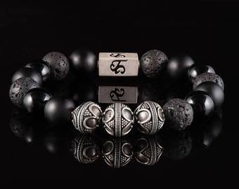Black Onyx, Obsidian, Lava - Beaded Bracelet