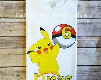 Pikachu, pokemon Birthday white short sleeve Shirt