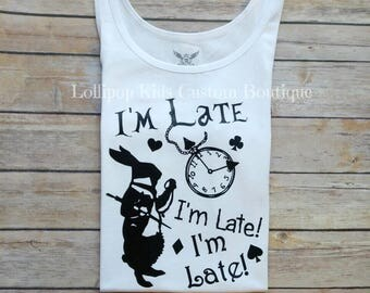 White rabbit, I'm late, Alice's Adventure in wonderland, short sleeve shirt*