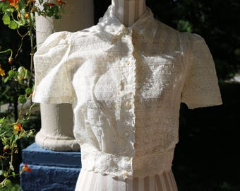 40s Ivory Lace Blouse