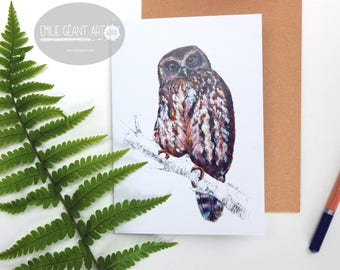 Morepork - Ruru folded card from the New Zealand native birds series by Emilie Geant, from original watercolor painting