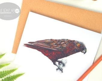 Kaka parrot folded card from the New Zealand native birds series by Emilie Geant, from original watercolor painting