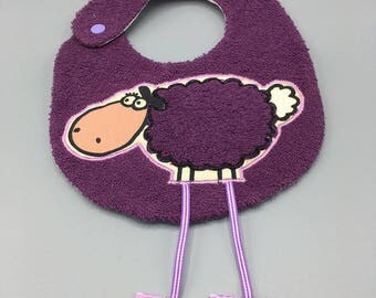 Purple lamb bib with long legs