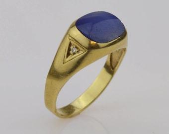 14k Yellow Gold Vintage Men's Sapphire & Diamond Ring Size 11.5(01444)