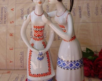 Large,Vintage Hollohaza ,art deco style  porcelain ladies,gossip girls ,stamped,handpainted