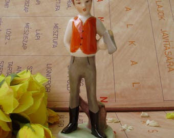 Vintage Hungarian,Hollohaza porcelain child figurine,little boy ,lumberjack, stamped,handpainted,фарфоровая статуэтка