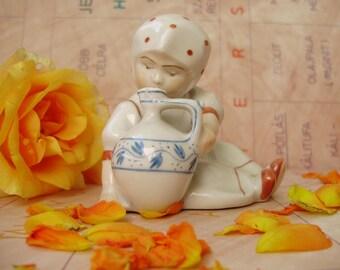 "Vintage,Hungarian, ZSOLNAY porcelain child figurine,""Annuska""little girl w.jug,handpainted stamped"