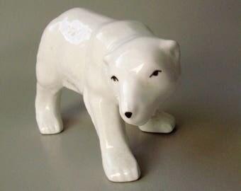 Vintage  porcelain animal figurine,polar bear, stamped