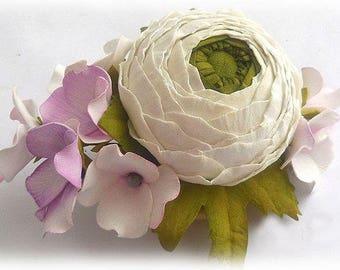 Wedding barrette clip Flower Barrette Bridal Hair clip Flower Hair piece Wedding ranunculus Flower hair accessory Bridal hair