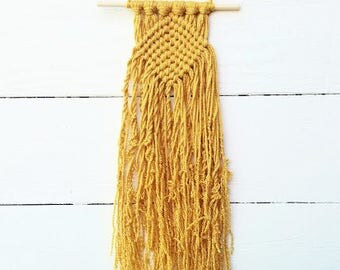 Mini Macrame Wall Hanging, College Dorm Girl Decorations, Gold / Mustard Yellow Woven Wall Hanging, Christmas Gifts for Her Under 10