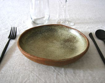 Ceramic Shallow Pasta Bowl - Khaki Beige