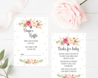 Diaper Raffle, Books for Baby, Custom Baby Shower Printable, Watercolor Boho Floral Party Invitation Digital Print, Printable Book Request