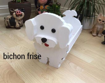 BICHON FRISE, wooden, garden, planter,ornament,decoration,name tag,custom made,