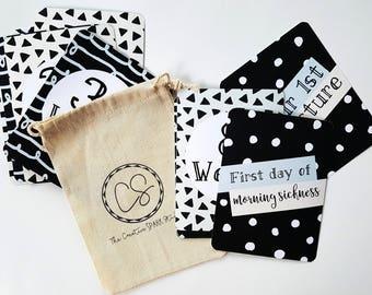Pregnancy Milestone Cards - Pregnancy Photo Props - Pregnancy Keepsake - Baby Shower Gift - Black And White Pregnancy Photo Cards