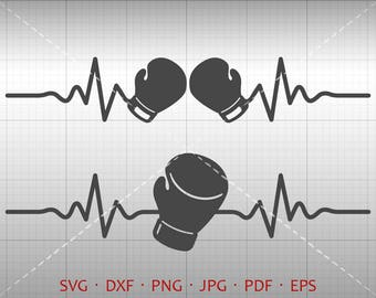 Heartbeat Boxing Glove SVG, EKG Pugilism  Clipart Silhouette Cricut Cut File Vector Commercial Use