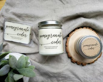 pomegranate cider - hand poured soy candle