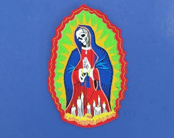 Skull patch, our lady of guadalupe patch