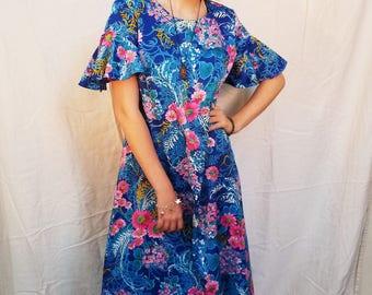 Vintage 70's Aloha Maxi Dress. Long Blue Dress. Boho Hippie Mumu Size Medium.