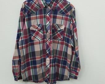 80s Men's Wrangler Shirt. Men's long sleeve shirt. Button Up Shirt. Western Shirt. Size XL Cotton