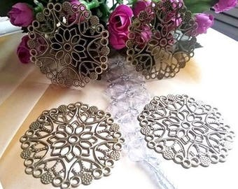 2 prints - diameter 50 mm - metal filigree bronze color