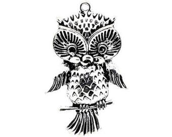 2 large pendants jewelry charms charm Tibetan silver OWL 43 x 27 mm