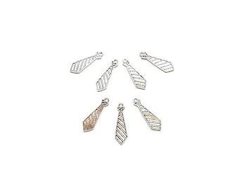 20 antique silver tie shaped pendants