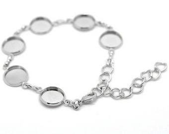 Supports CMS length 18.0 silver color cabochon bracelet