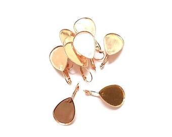 10 bezel drop Rose Gold Earrings