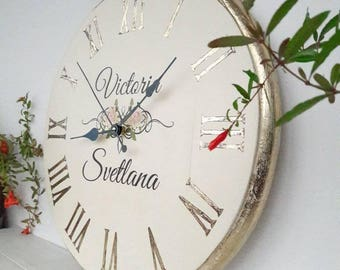 Personalized clock 16 inch wooden wall clock wood wall art