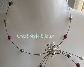 very Ocean fuchsia white and grey necklace