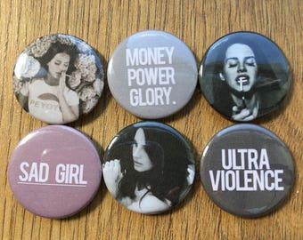 Lana Del Rey ULTRAVIOLENCE pin button badges