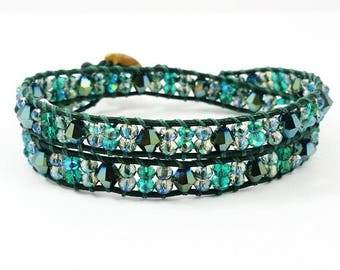 Mother, Mother Ocean~Handmade Double Wrap Bracelet~Czech Glass~Faceted Crystals~ Shell Button~Emerald Green Leather~Wrap Bracelet Beaded