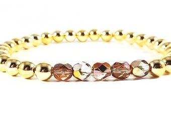 Golden Sunset~ Handmade Stretch Bracelet~ 14K Gold Filled Rounds & Multicolored Faceted Czech Glass Crystals~ Adjustable