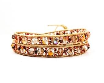 Rosie Golden Sunset~Handmade Wrap Bracelet~Double Wrap Bracelet~Wrap Bracelet Leather~Czech Glass~Rose Gold Bracelet~Crystal Jewelry