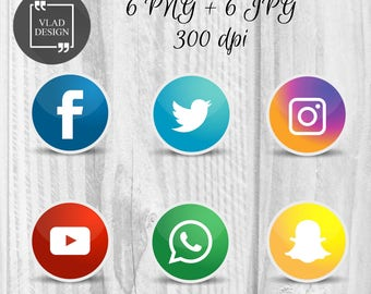 6 Social Media Elements, Social Media Clipart, Digital Elements, Social Media Badges, Facebook Badge, Twitter, Instagram
