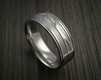 Titanium custom geometric bridge engineer graduation ring
