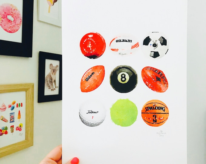 Iconic Australian Sport Ball Print - A4 Size Designed and Printed in Australia.