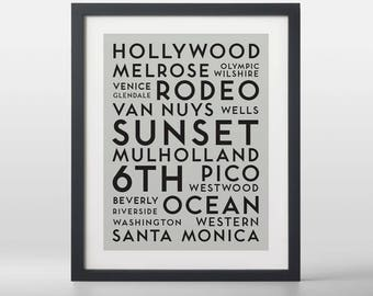 Los Angeles USA City Streets Typography Art Print
