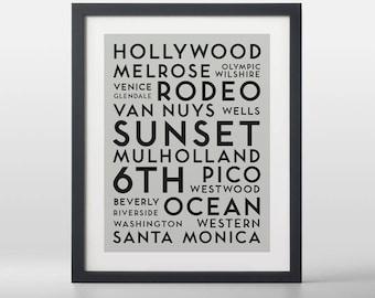 Los Angeles USA City Streets Typography Art Print
