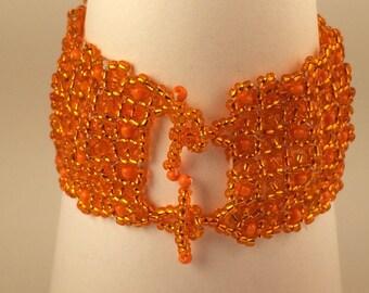 Orange Bracelet Made of Glas Beads For Women, Beaded Bracelet, Sead Bead Bracelet, Beaded Jewelry, Gift For Her, Orange