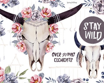 Stay wild boho skulls & bouquets Bohemian watercolor png clipart moon clipart spring clipart winter clipart wild clipart horns watercolor