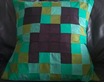 Minecraft creeper patchwork cushion