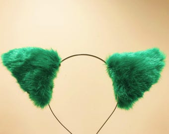 Cat ears Kitty Headwear Green Black Furry Animal Headband Costume Bow Bells