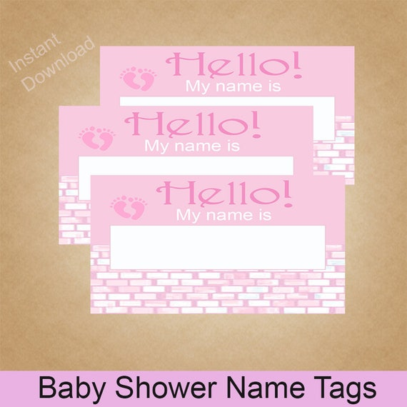 baby shower name tags pink baby girl tags instant download