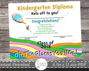 Oh the places you'll go, Kindergarten/Preschool Graduation, Diploma