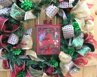 Christmas Wreath ~ Christmas Decor ~ Wreath with Lantern ~ Reindeer Lantern ~ Battery Operated Tea Light Candle ~ Red, Green, Gold, ~ Ribbon