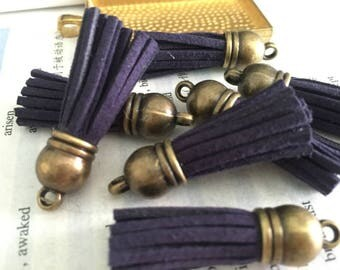 50pieces navy blue suede leather Bronze plastic caps ear tassel --for length 45mm