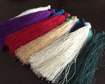 wholesale 100pieces assoretd colors (more than 15colors)80mm string silk cotton ear tassel charms