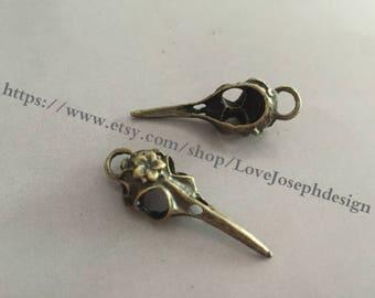 20 Pieces /Lot Antique bronze Plated 40mmx13mm Bird head Charms (#0145)